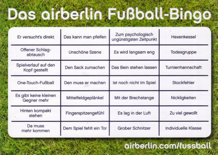 Airberlin Fussball-Bingo