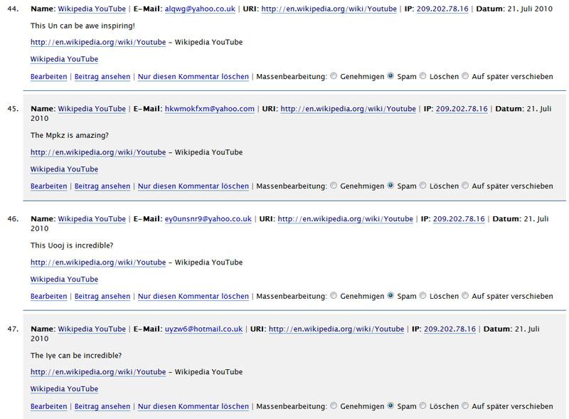 Kommentar-Spam mit Link auf Youtbe bei Wikipedia