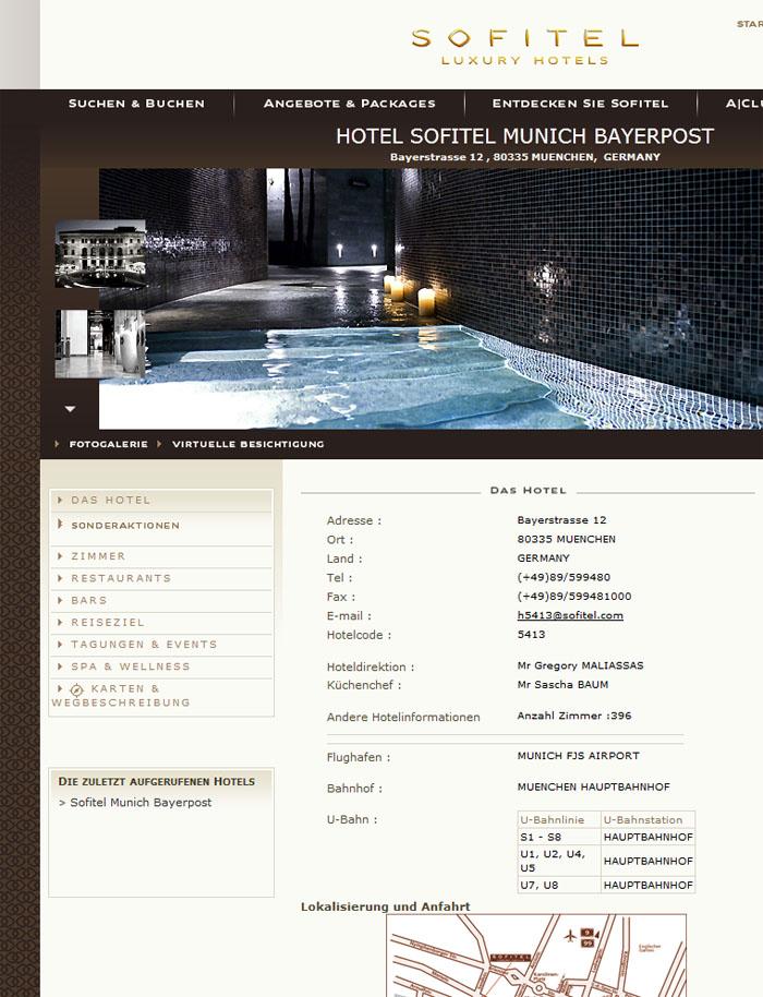 Screenshot Sofitel München Bayerpost vom 7.2.2012